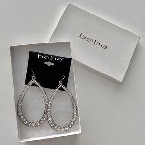 bebe Teardrop Hoop Crystal Silver Earrings